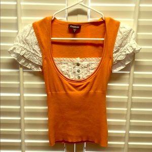 Bebe orange/white blouse